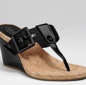 COACH Black Wedge Thong Sandals NEW 9.5